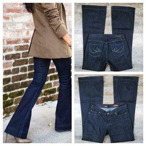 Express LONG Eva FLARE 8 70s Dark Wash Jeans